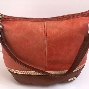 The Sak Shoulderbag Leather Apricot Brown Large